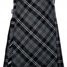 58 size Gery watch Modren tartan Bias Apron Traditional 5 Yard Scottish Kilt for Men