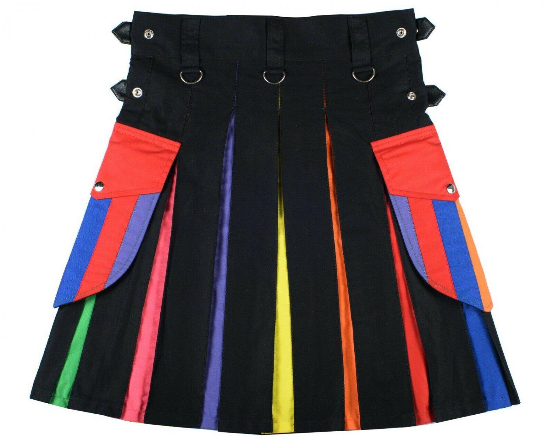 60 size LGBT Pride Hybrid Cotton Scottish Utility Kilt for Parades Festivals and Gifts