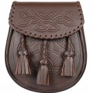 Brown Leather Premium Handmade Scottish Celtic Semi Dress Leather Sporran - Free Belt