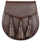 Plain Brown Leather Premium Handmade Scottish Celtic Semi Dress Leather Sporran - Free Belt