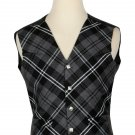 46 Size Grey Watch Modern Biased Pattern 5 Buttons Tartan Waistcoat / Kilt Vest For Men
