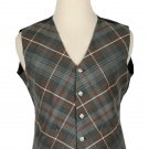 54 Size Mackenzie Weathered Biased Pattern 5 Buttons Tartan Waistcoat / Kilt Vest For Men