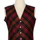 42 Size Macdonald Biased Pattern 5 Buttons Tartan Waistcoat / Kilt Vest For Men