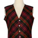 46 Size Macdonald Biased Pattern 5 Buttons Tartan Waistcoat / Kilt Vest For Men