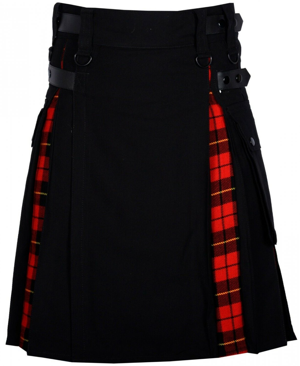 60 Size Black denim-Wallace tartan Scottish Utility Cargo Hybrid Cotton Kilt For Men