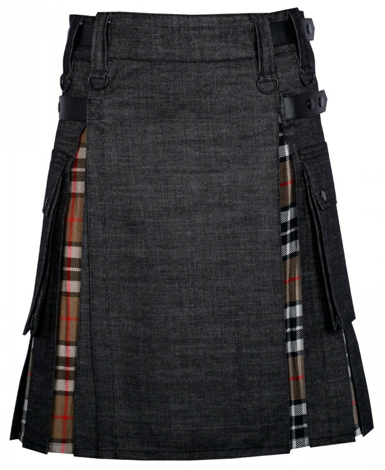38 Size Black denim-Campbell of Thom Scottish Utility Cargo Hybrid Cotton Kilt For Men