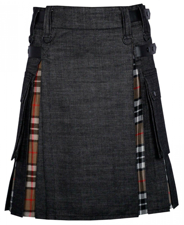 44 Size Black denim-Campbell of Thom Scottish Utility Cargo Hybrid Cotton Kilt For Men