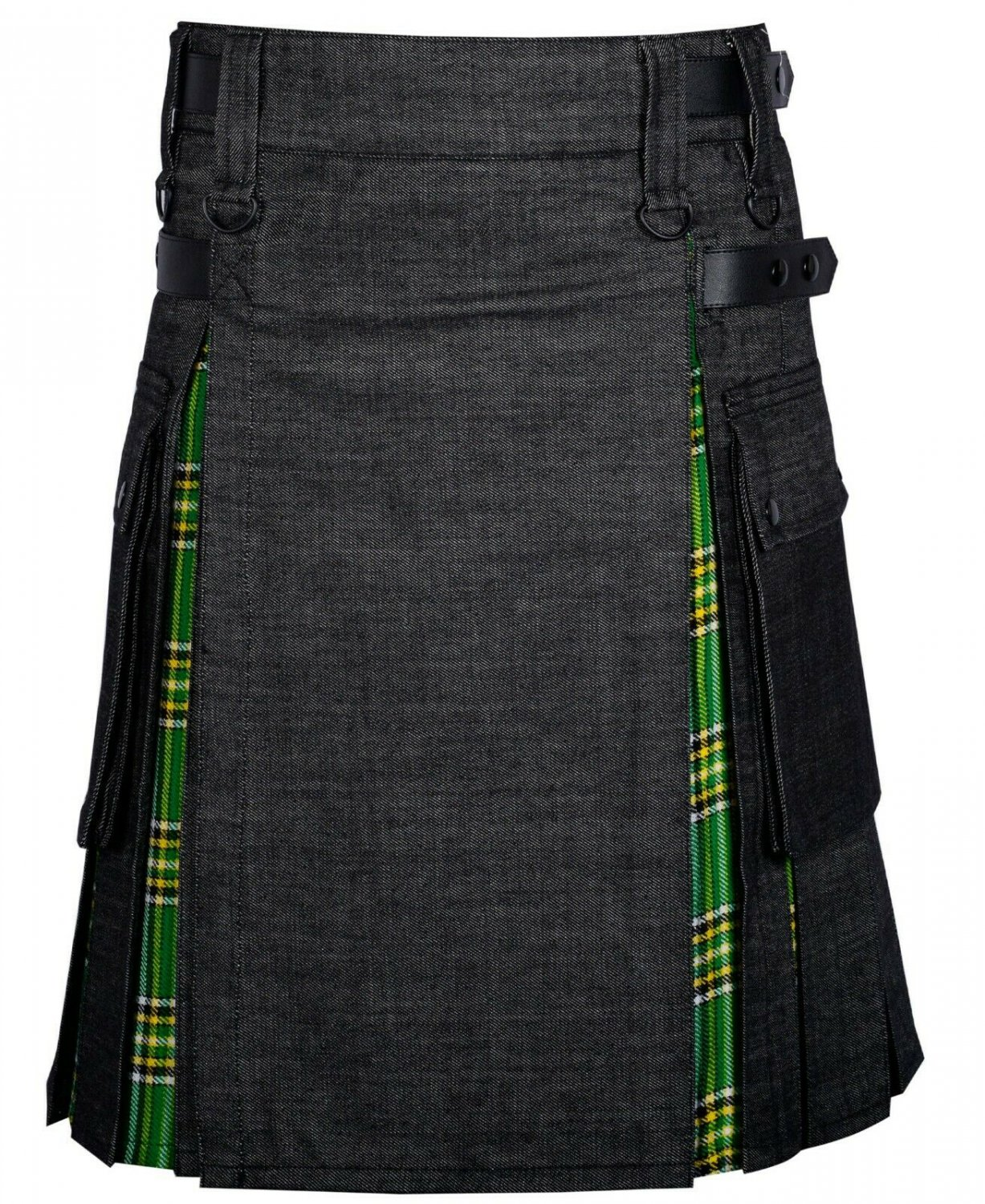 48 Size Black denim-Irish tartan Scottish Utility Cargo Hybrid Cotton Kilt For Men