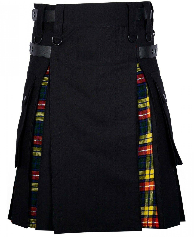 36 Size Black Cotton-Buchanan tartan Scottish Utility Cargo Hybrid Cotton Kilt For Men