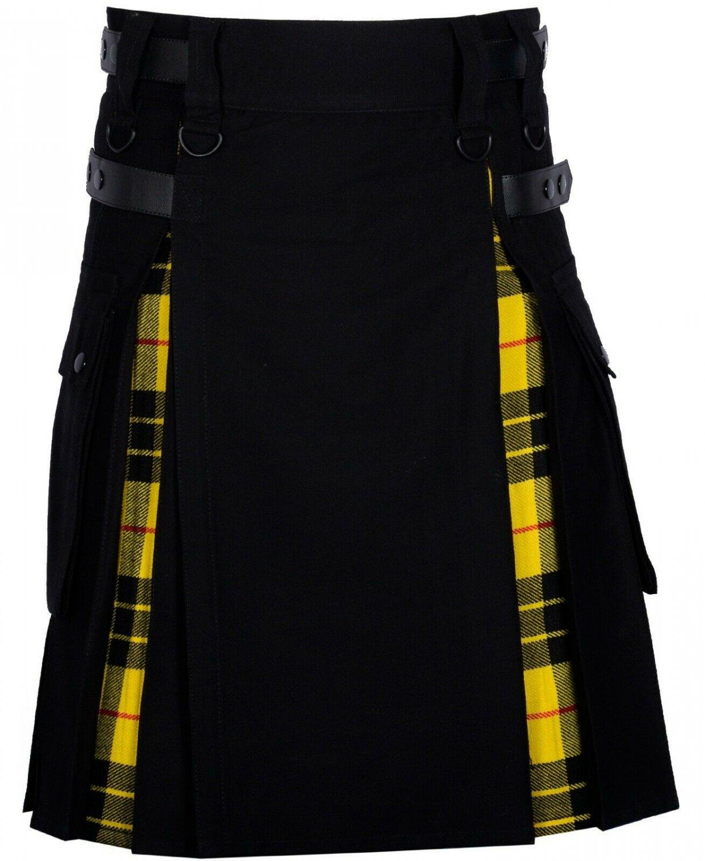 36 Size Black Cotton-Macleod of Lewi Scottish Utility Cargo Hybrid Cotton Kilt For Men