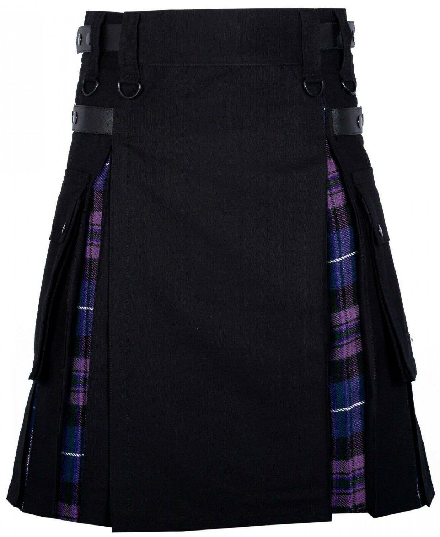 54 Size Black Cotton-Pride of Scotland Scottish Utility Cargo Hybrid Cotton Kilt For Men