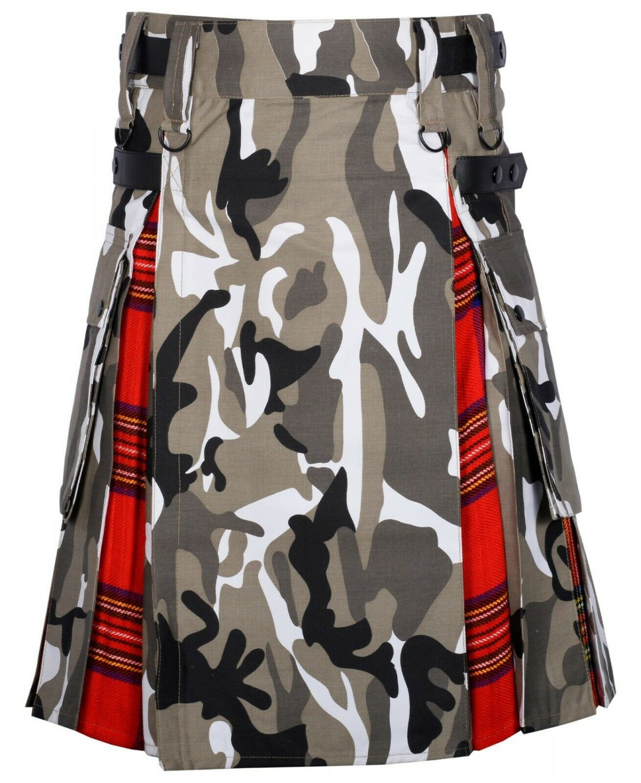 40 Size Urban Camo-Royal Stewart tartan Scottish Utility Cargo Hybrid Cotton Kilt For Men