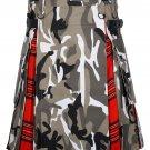 54 Size Urban Camo-Royal Stewart tartan Scottish Utility Cargo Hybrid Cotton Kilt For Men