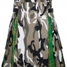 42 Size Urban Camo-Irish tartan Scottish Utility Cargo Hybrid Cotton Kilt For Men