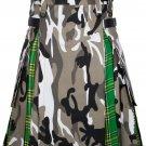 46 Size Urban Camo-Irish tartan Scottish Utility Cargo Hybrid Cotton Kilt For Men