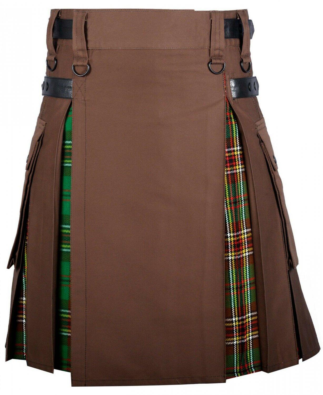 48 Size Brown Cotton-Tara Murphy tartan Scottish Utility Cargo Hybrid Cotton Kilt For Men