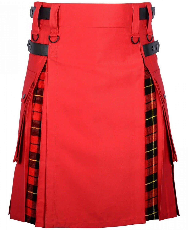 34 Size Red Cotton-Wallace tartan Scottish Utility Cargo Hybrid Cotton Kilt For Men