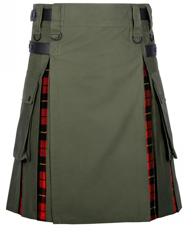 36 Size Olive Green Cotton-Wallace tartan Scottish Utility Cargo Hybrid Cotton Kilt For Men
