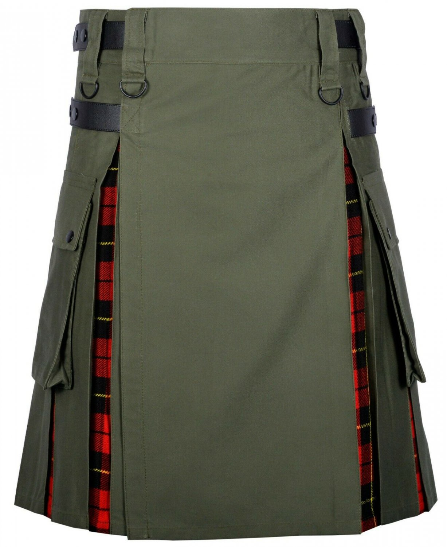 46 Size Olive Green Cotton-Wallace tartan Scottish Utility Cargo Hybrid Cotton Kilt For Men