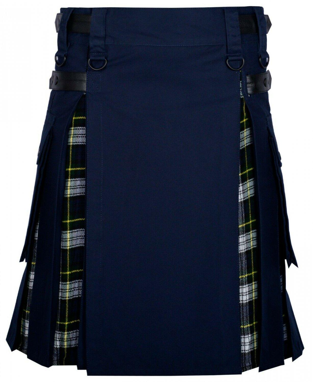 38 Size Navy Blue Cotton-dress Gordon tartan Scottish Utility Cargo Hybrid Cotton Kilt For Men