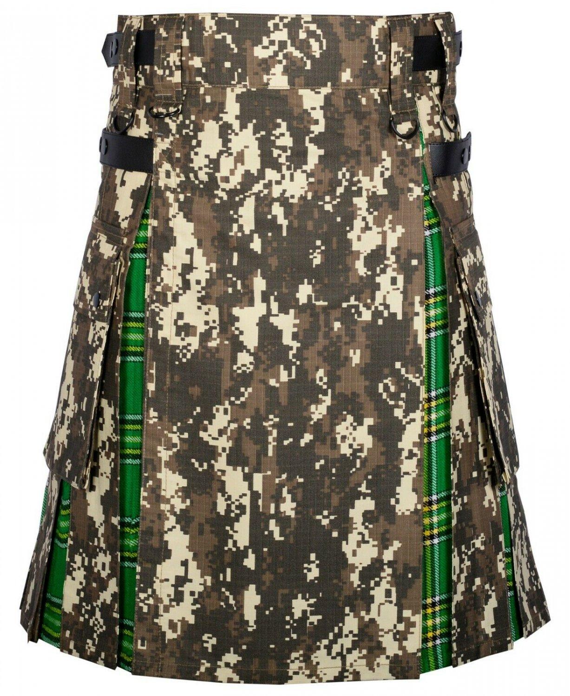 56 Size digital Camo -Irish tartan Scottish Utility Cargo Hybrid Cotton Kilt For Men