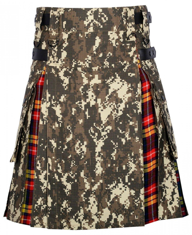 42 Size digital Camo -Buchanan tartan Scottish Utility Cargo Hybrid Cotton Kilt For Men