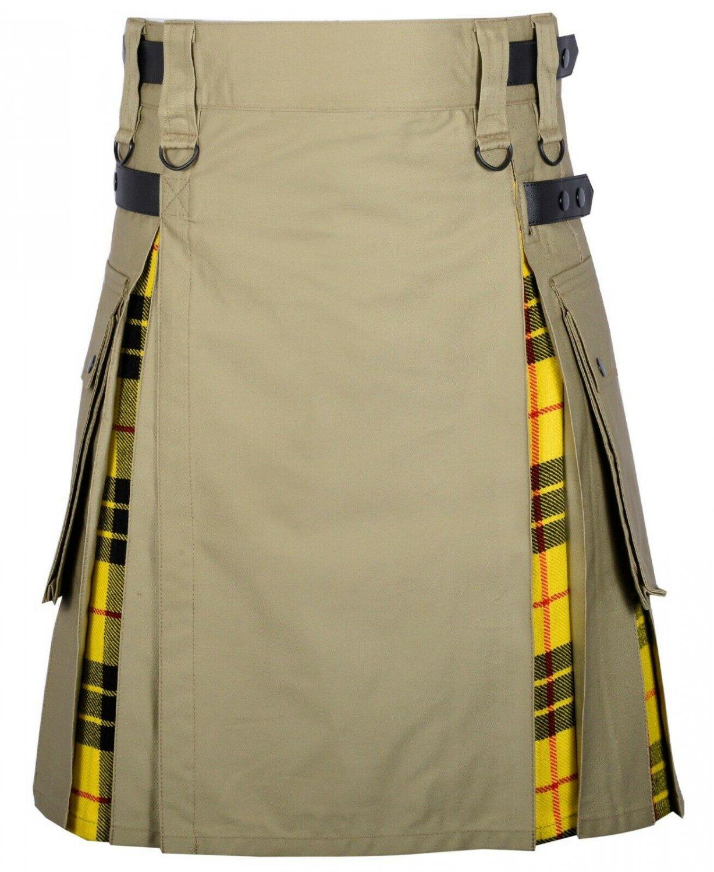 30 Size Khaki Cotton -Macleod of Lewi tartan Scottish Utility Cargo Hybrid Cotton Kilt For Men