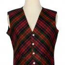 44 Size Macdonald Biased Pattern 5 Buttons Tartan Waistcoat / Kilt Vest For Men
