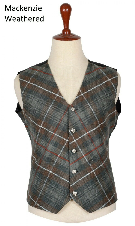 36 Size Mackenzie weathered Biased Pattern 5 Buttons Tartan Waistcoat / Kilt Vest For Men
