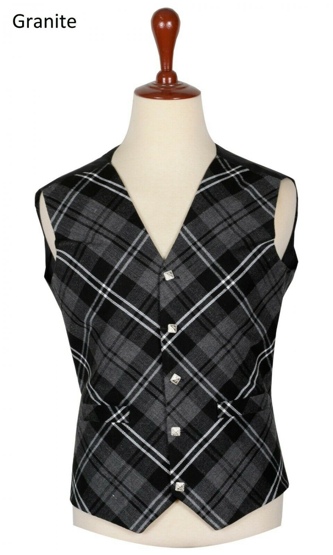 44 Size Granite Biased Pattern 5 Buttons Tartan Waistcoat / Kilt Vest For Men