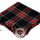 Black Stewart Scottish Traditional Hand Fringed Kilt FLY PLAID and Brooch / 100+ Tartan Available