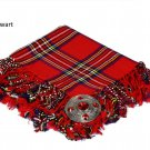Royal Stewart Scottish Traditional Hand Fringed Kilt FLY PLAID and Brooch / 100+ Tartan Available