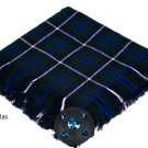 Blue Douglas Scottish Traditional Hand Fringed Kilt FLY PLAID and Brooch / 100+Tartan available