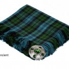 Campbell Ancient Scottish Traditional Hand Fringed Kilt FLY PLAID and Brooch / 100+Tartan available