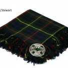 Hunting Stewart Traditional Hand Fringed Kilt FLY PLAID and Brooch / 100+Tartan available