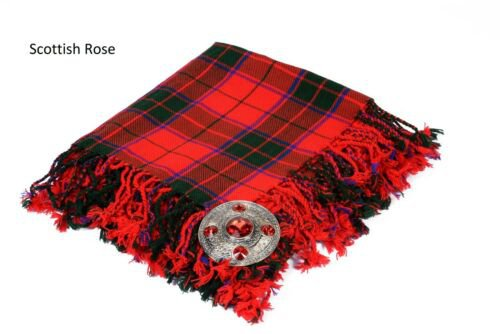 Scottish Rose Traditional Hand Fringed Kilt FLY PLAID and Brooch / 100+Tartan available