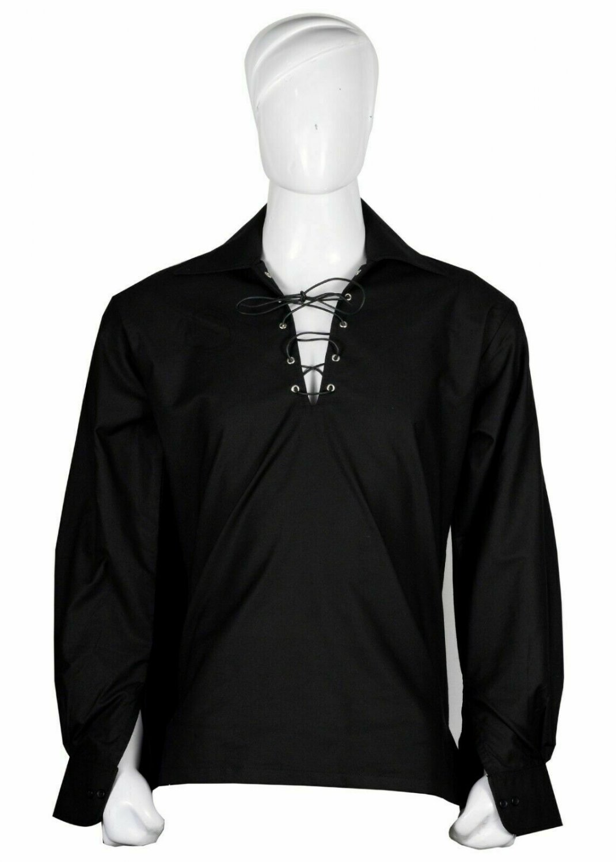 5XL Size Black Cotton Traditional Scottish Style Jacobean Jacobite Ghillie Kilt Shirt