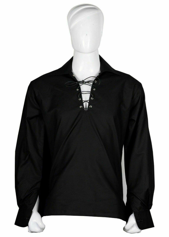 6XL Size Black Cotton Traditional Scottish Style Jacobean Jacobite Ghillie Kilt Shirt