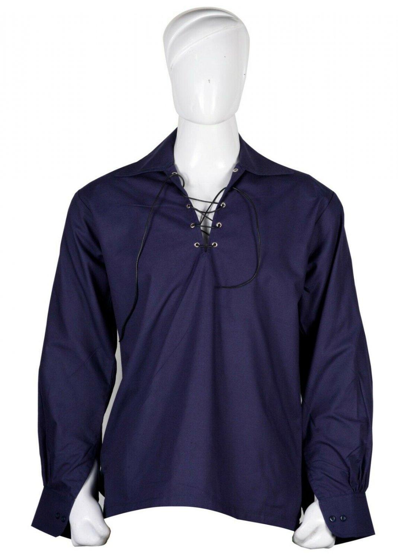 S Size Blue Cotton Traditional Scottish Style Jacobean Jacobite Ghillie Kilt Shirt