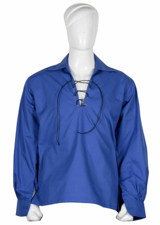 S Size Royal Blue Cotton Traditional Scottish Style Jacobean Jacobite Ghillie Kilt Shirt