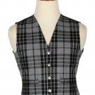 44 Size Grey Watch Handmade Traditional Scottish 5 Buttons Tartan Waistcoat / Plaid Vest