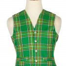 44 Size Irish Handmade Traditional Scottish 5 Buttons Tartan Waistcoat / Plaid Vest