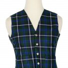 44 Size Blue Douglas Traditional Scottish 5 Buttons Tartan Waistcoat / Plaid Vest