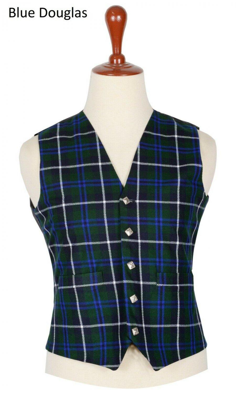 46 Size Blue Douglas Traditional Scottish 5 Buttons Tartan Waistcoat / Plaid Vest