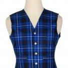 44 Size Ramsey Blue Traditional Scottish 5 Buttons Tartan Waistcoat / Plaid Vest