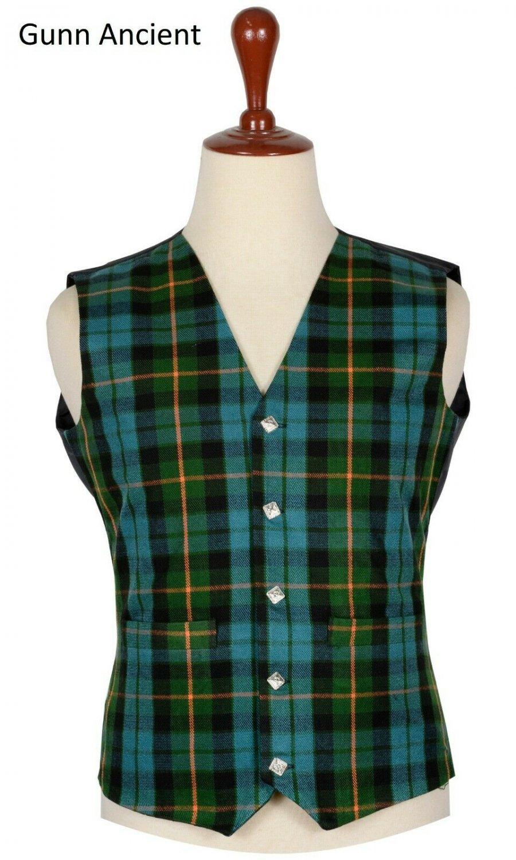 54 Size Gunn Ancient Traditional Scottish 5 Buttons Tartan Waistcoat / Plaid Vest