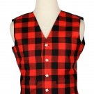 36 Size Buffalo Plaid  Traditional Scottish 5 Buttons Tartan Waistcoat / Plaid Vest