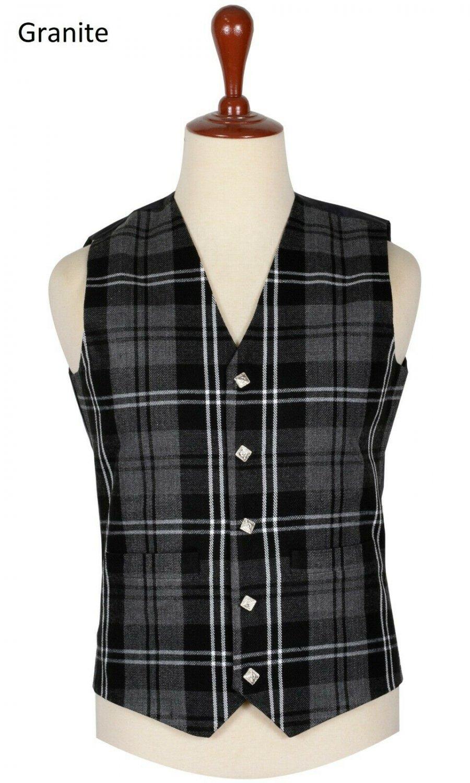54 Size Granite Traditional Scottish 5 Buttons Tartan Waistcoat / Plaid Vest