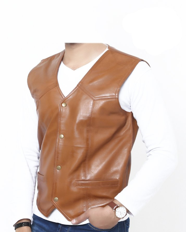 2XL Size Premium Leather Handmade Formal Vest For men ST-1905 Tan