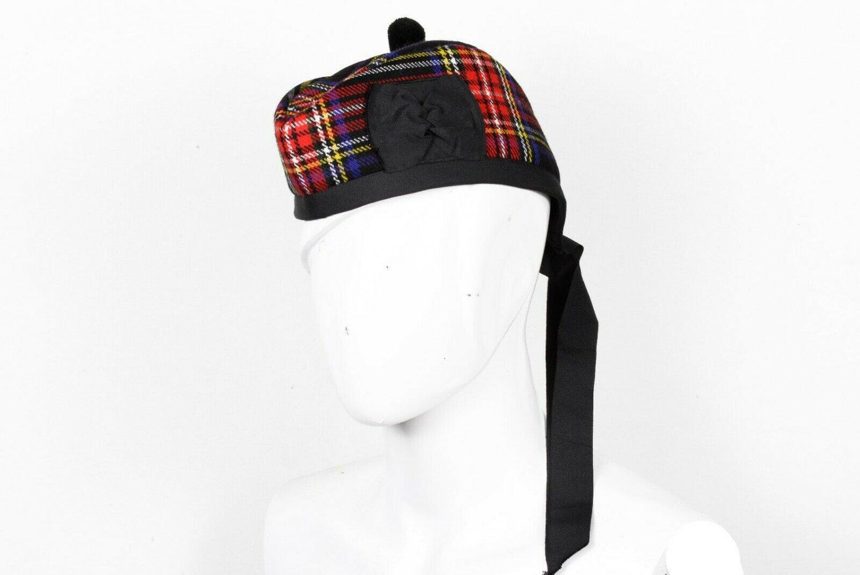 Premium Handmade Scottish Military Piper Clan Tartan Glengarry Hat/Kilt Cap / Black Stewart